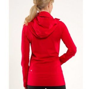 Lululemon In Stride Jacket Longer Hooded Red Sz 8